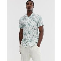 Selected Homme floral graphic print revere collar short sleeve shirt in white - White