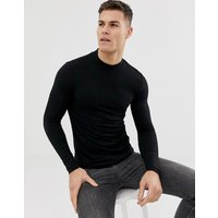 ASOS DESIGN organic muscle fit long sleeve turtle neck t-shirt with stretch in black - Black