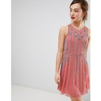 Frock & Frill Heavily Embellished Swing Dress - Pink