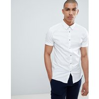 River Island muscle fit poplin shirt in white - White