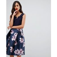 AX Paris bardot prom dress with contrast skirt - Navy