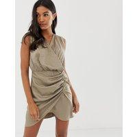 ASOS DESIGN sleeveless ruched jacquard mini dress - Mink