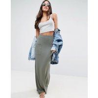 ASOSASOS Jersey Maxi Skirt with Pockets - Khaki