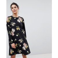 Y.A.S floral mini shift dress with sleeve rib detail in black - Black flower