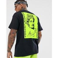 HNR LDN neon greek back print t-shirt in oversized - Black