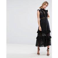 Three Floor Tiered Lace Midi Dress - Black