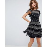 Needle & Thread Embellished Dress with High Neck and Frill Cap Sleeve - Washed black