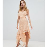 ASOS DESIGN Petite asymmetric rufflle broderie maxi dress - Peach