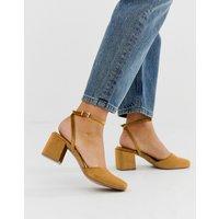 ASOS DESIGN Salvation square toe block heeled mid shoes in rust velvet - Rust velvet