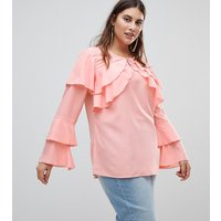 Koko Blouse With Long Sleeve Ruffle Detail - Pink