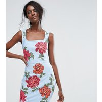 MissguidedMissguided Embroidered Bandage Dress - Blue
