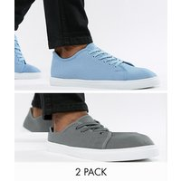 Truffle Collection 2 Pack Lace Up Plimsolls - Grey