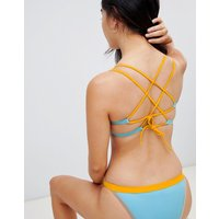 Free society mix & match colour block bikini crop top - Multi