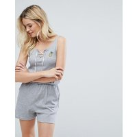 Brave Soul Jenna Playsuit With Pineapple Badge - Sports Grey Marl