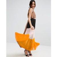 ASOS Pleated Plunge Colourblock Maxi Dress - Multi