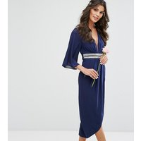 TFNCTFNC WEDDING Kimono Sleeve Midi Dress with Wrap Skirt - Navy