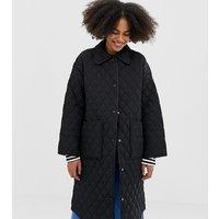 Monki quilted long line jacket in black - Black