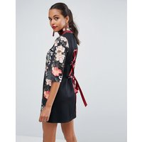 ASOSASOS High Neck Black Base Floral Mini Shift Dress - Multi