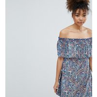 Esprit Paisley Print Off Shoulder Beach Dress