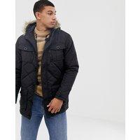 Brave Soul Quilted Parka Jacket with Faux Fur Trim Hood - Black
