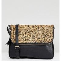 Accessorize Sarah Leather Zip Flap Cross Body Bag - Leopard