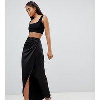 ASOS DESIGN Tall satin wrap maxi skirt