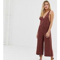 Rhythm Amalfi linen culotte leg jumpsuit in ginger - Br1 - brown 1
