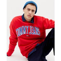 Tommy Jeans relaxed fit collegiate capsule sweatshirt in red - Flame scarlet