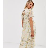 Hope & Ivy Maternity tie back midi dress in coral floral print - Coral