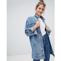 Pull&Bear longline denim jacket - Medium blue