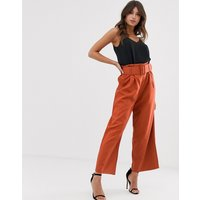 Paper Dolls paper bag trouser - Burnt orange