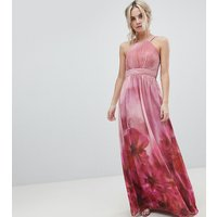 Little Mistress Petite High Neck Full Bloom Floral Maxi Dress - Multi