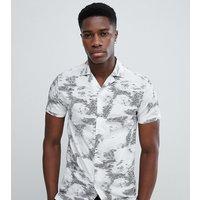 Noak skinny revere collar shirt in floral - White