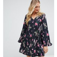 ASOS TallASOS TALL Button Through Swing Dress With Trumpet Sleeve In Floral Print - Multi
