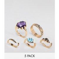 Pack de 5 anillos vintage con mano adornada y piedras de ASOS DESIGN