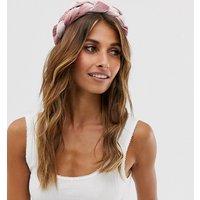 Accessorize Exclusive Pink Velvet Wide Plait Headband
