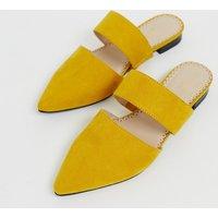 Accessorize Leather Mustard Slip On Flat Mule