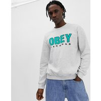 Obey Records Sweatshirt In Ash Grey - Grey