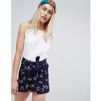 Brave Soul Ada Shorts In Floral Print - Navy