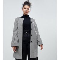 Helene Berman Plus Trumpet Sleeve Collarless Coat - Black / white
