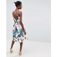 ASOSASOS Tropical Ruffle Back Midi Prom Dress - Multi