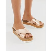 ASOS DESIGN Transaction leather flatforms in rose gold - Rose gold
