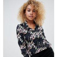 Brave Soul Petite dymphia floral print shirt - Black