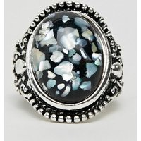 7x Gem Ring In White - Silver