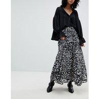 Religion Maxi Skirt In Animal Print - Black