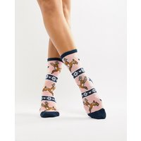 Sock Shop Deer Sock In Jumper Set - Pink