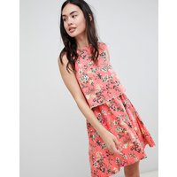 Brave Soul Celeste Double Layer Floral Dress With Pom Pom Trim - Coral