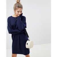 ASOSASOS Knitted Jumper Dress with Volume Sleeves - Navy