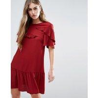 ASOSASOS Short Sleeve Drop Waist Dress With Ruffles - Red