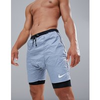 Nike Running Distance Run Division Shorts In Crinkle Effect Grey 928457-445 - Grey